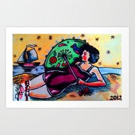 """The Beach-suit Bather """"Bonni"""" Art Print"""