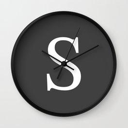 Very Dark Gray Basic Monogram S Wall Clock
