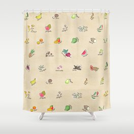 Las Frutas y Verduras de Latinoamerica Shower Curtain