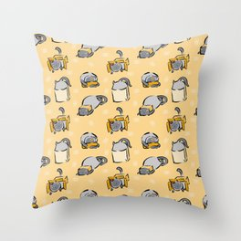 cat and boxes Throw Pillow