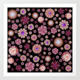 flowers on dark Art Print