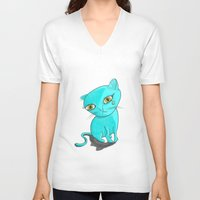 tiffany V-neck T-shirts featuring Tiffany Kitty by Heidi Bada