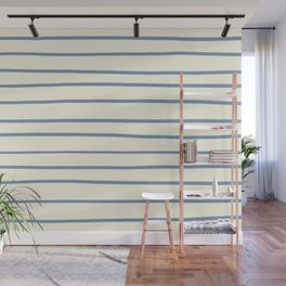 Dusk Sky Blue 27-23 Hand Drawn Horizontal Lines on Dover White 33-6 Wall Mural
