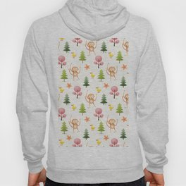 Pastel pink floral brown funny monkey yellow duck pattern Hoody