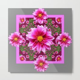 Abstracted  Fuchsia Dahlias Geometric Stylized Floral Grey Garden Metal Print