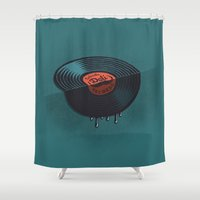 record Shower Curtains featuring Hot Record by Carlitos Way