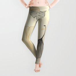 Luxury golden Ginkgo background. Leggings