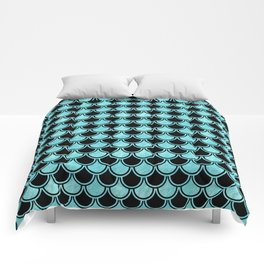 Mermaid Scales Blue Turquoise Teal on Black Comforters