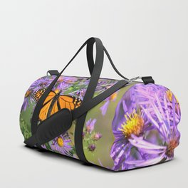 Monarch Butterfly on Wild Aster Flower Duffle Bag