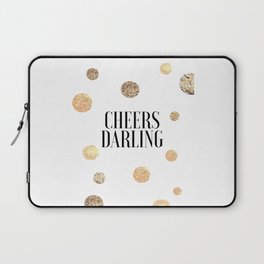 CHEERS DARLING GIFT, Wedding Quote,Anniversary Print,Gold Confetti,Cheers Sign,Champagne Quote,Celeb Laptop Sleeve