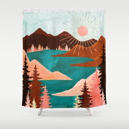 Retro Lake Shower Curtain