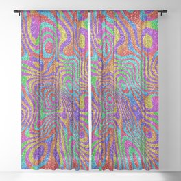 Psychedelic Rainbow Glitter Bomb Sheer Curtain