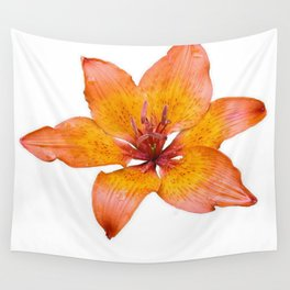 Coral Colored Lily Isolated on White Wall Tapestry