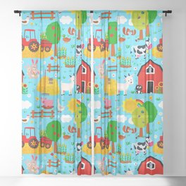 Farm Animals Blue Sky Barnyard Pattern Sheer Curtain