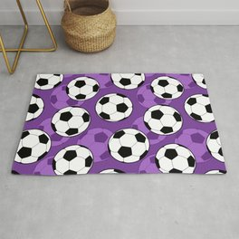 Football Pattern on Purple Background Rug