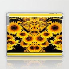 Ornate Black-Gold Sunflowers Pattern Art Laptop & iPad Skin