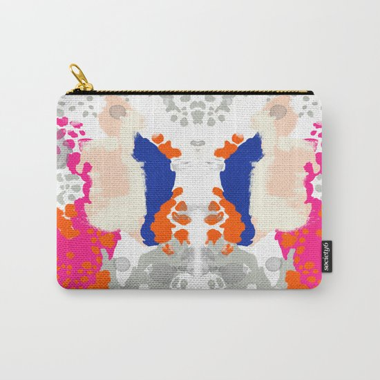 Mica - Abstract painting in modern fresh colors navy, orange, pink, cream, white, and gold Carry-All Pouch