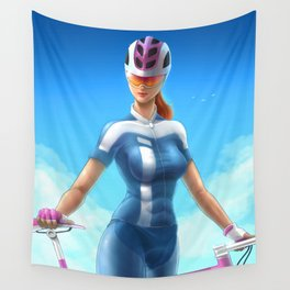 Cyclist girl Wall Tapestry