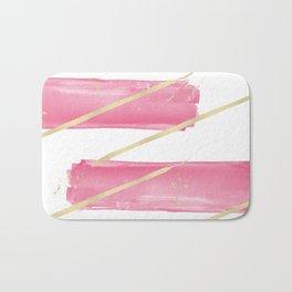 Pink Girly Watercolor Brushstrokes Gold Stripes Bath Mat