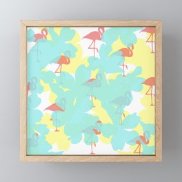 Primroses and flamingos Framed Mini Art Print