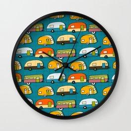 Retro Campers Teal #midcenturymodern Wall Clock