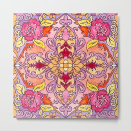 Moroccan Tile Rose Metal Print