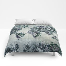 world map floral black and white Comforters