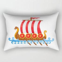 Cartoon Viking Ship Rectangular Pillow