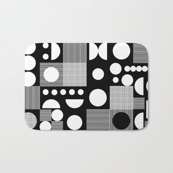 Black and white minimal pattern abstract scandi design geometric shapes Bath Mat