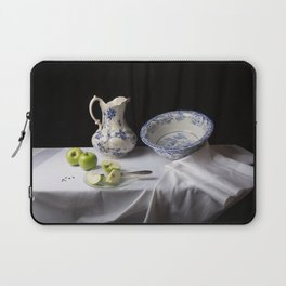 Delft blue and green apples still life Laptop Sleeve
