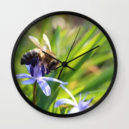 Bee and Blue Flower Wall Clock