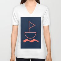sail V-neck T-shirts featuring sail by gzm_guvenc