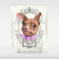 chihuahua Shower Curtains featuring Chihuahua - Tuna  by PaperTigress
