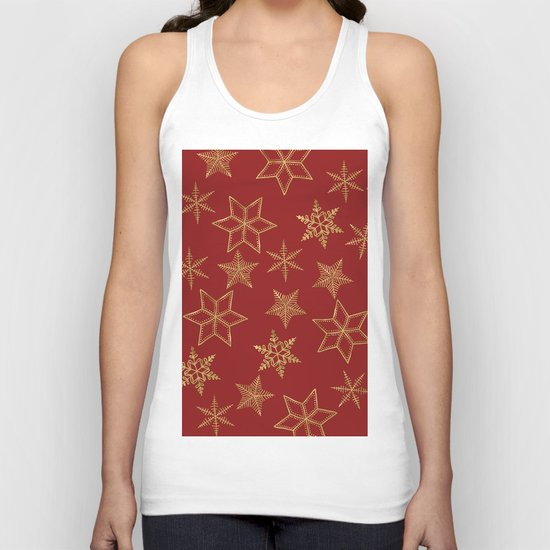 Snowflakes Red And Gold Unisex Tank Top