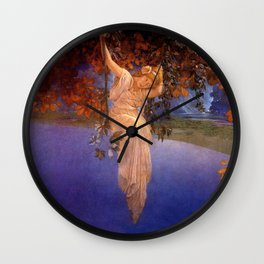 'Reveries' - Girl on a Swing on top of the World by Maxfield Parrish   Wall Clock