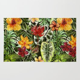 Tropical Vintage Exotic Jungle Flower Flowers - Floral watercolor pattern Rug