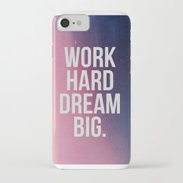 Work Hard Dream Big - Ombre - Inspirational Quote iPhone Case