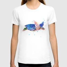 Sea Turtle, blue rainbow T-shirt