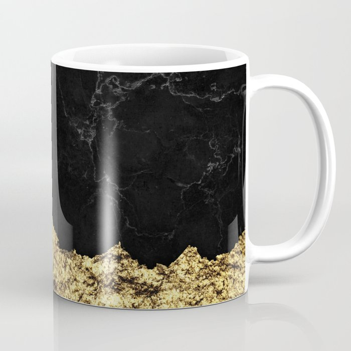 Rough Gold Torn and Black Marble Coffee Mug