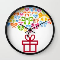 gift card Wall Clocks featuring Gift by aleksander1