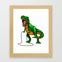 Dinosaur T Rex Jump Rope Framed Art Print