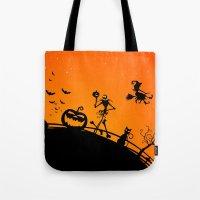 jack skellington Tote Bags featuring Halloween Jack Skellington  by Raisya