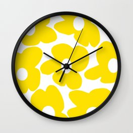 Large Yellow Retro Flowers on White Background #decor #society6 #buyart Wall Clock