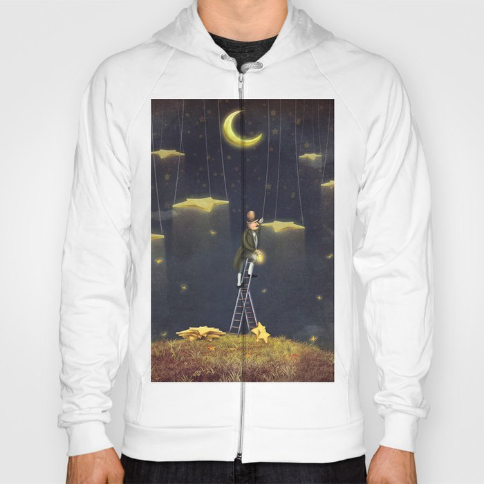 Man reaching for stars  at top of tall ladder Hoody