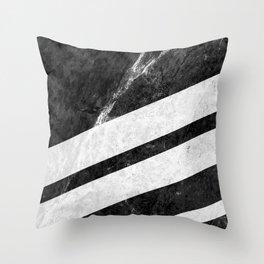 Black Striped Marble Throw Pillow