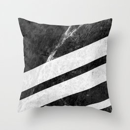 Black Striped Marble Throw Pillow