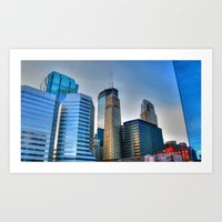 minneapolis Art Prints featuring Minneapolis by Brent Rousseau