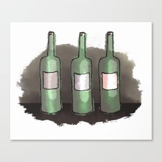 Three Bottles of Wine on the Wall Canvas Print