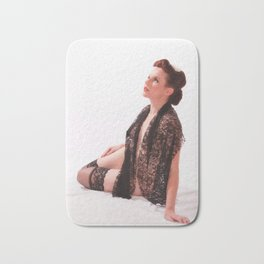 """""""Shawls and Garters"""" - The Playful Pinup - Sexy Lace Classic Pin-up by Maxwell H. Johnson Bath Mat"""