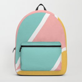 Tropical summer pastel pink turquoise yellow color block geometric pattern Backpack